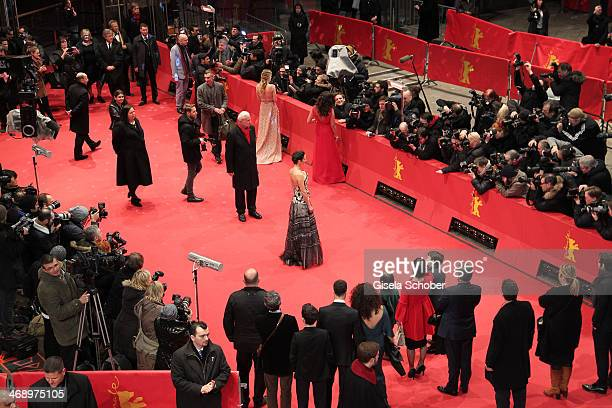 Actress Jennifer Connelly actress Melanie Laurent and director Claudia Llosa attend the 'Aloft' premiere during 64th Berlinale International Film...