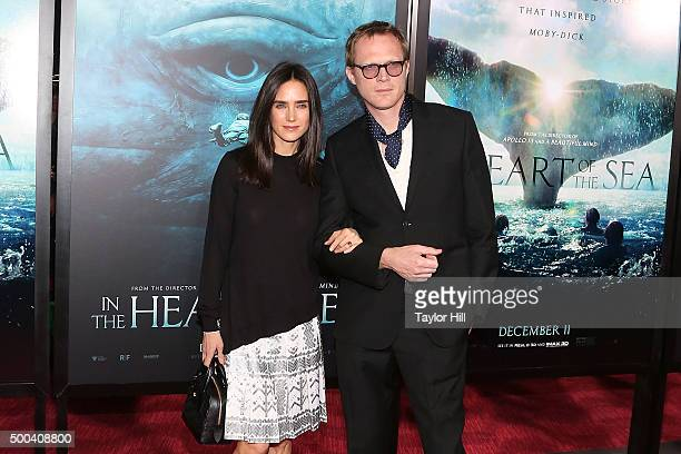 Actress Jennifer Connelly and actor Paul Bettany attend the In the Heart of the Sea premiere at Frederick P Rose Hall Jazz at Lincoln Center on...