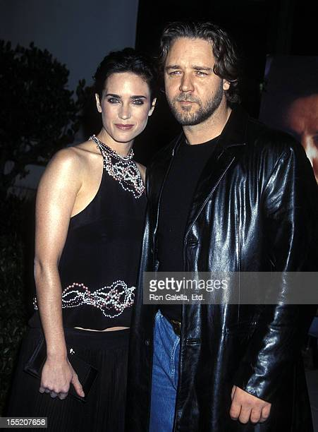 Actress Jennifer Connelly and actor Russell Crowe attend 'A Beautiful Mind' Beverly Hills Premiere on December 13 2001 at the Academy of Motion...