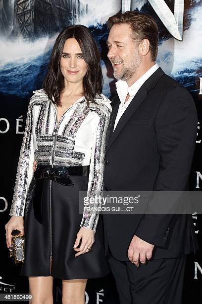 US actress Jennifer Connelly and Australian actor Russell Crowe pose before the screening of their new film 'Noah' on April 1 2014 in Paris US...