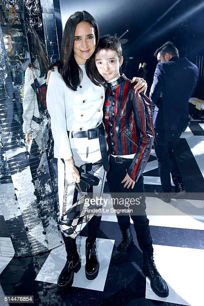 Actress Jennifer Connelly and her son Stellan Bettany attend the Louis Vuitton show as part of the Paris Fashion Week Womenswear Fall/Winter...