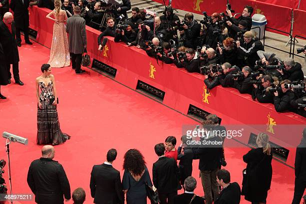Actress Jennifer Connelly and Melanie Laurent attend the 'Aloft' premiere during 64th Berlinale International Film Festival at Berlinale Palast on...