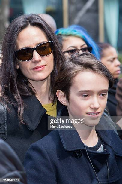 Actress Jennifer Connelly and Stellan Bettany attend the 2015 International Women's Day March at Dag Hammarskjold Plaza on March 8 2015 in New York...