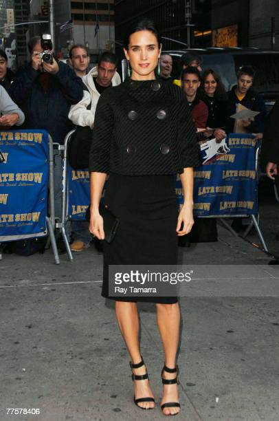 "Actress Jennifer Connelly attends the ""Late Show With David Letterman"" taping at the Ed Sullivan Theater October 30, 2007 in New York City."