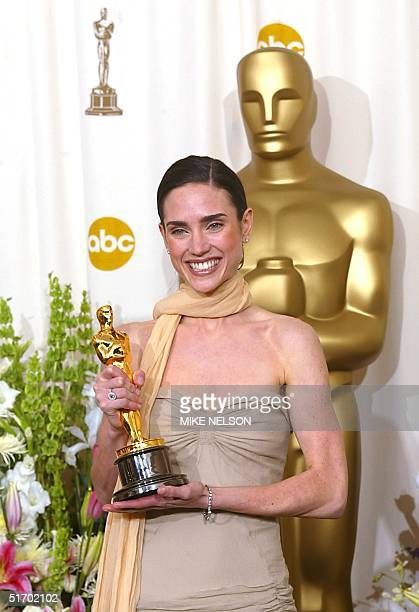 US actress Jennifer Connelly holds her Oscar or best actress in a supporting role for her portrayal of Alicia Nash the wife of mathematician John...