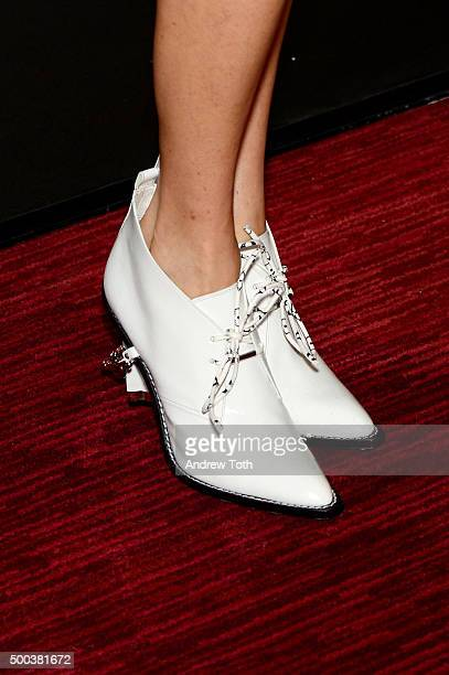 Actress Jennifer Connelly shoe detail attends In The Heart Of The Sea New York premiere at Frederick P Rose Hall Jazz at Lincoln Center on December 7...