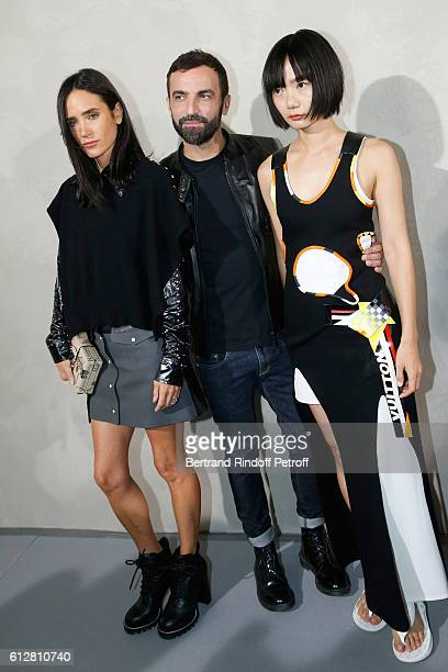 Actress Jennifer Connelly Stylist Nicolas Ghesquiere and actress Doona Bae pose after the Louis Vuitton show as part of the Paris Fashion Week...