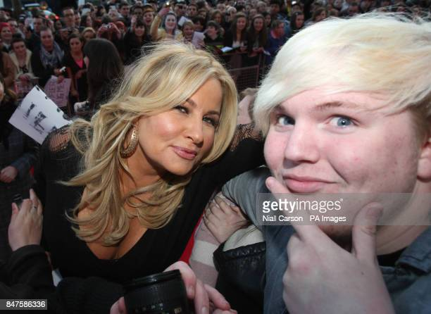 Actress Jennifer Coolidge and fan Daniel Crave at the Irish premiere of American Pie The Reunion at the Savoy Cinema in Dublin