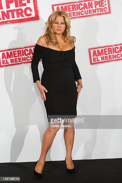 Actress Jennifer Coolidge attends American Pie Reunion photocall at Villamagna Hotel on April 19 2012 in Madrid Spain