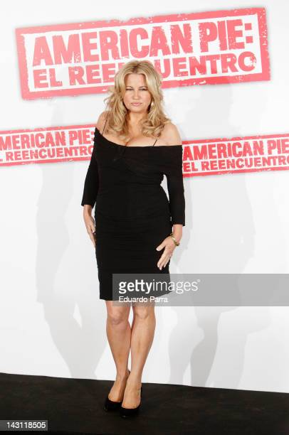 Actress Jennifer Coolidge attends 'American Pie Reunion' photocall at Villamagna Hotel on April 19 2012 in Madrid Spain