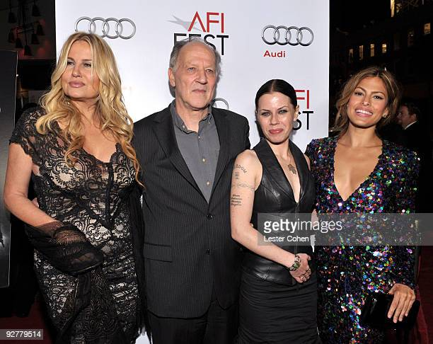 Actress Jennifer Coolidge director Werner Herzog actress Fairuza Balk and actress Eva Mendes arrive at the AFI Fest Screening Of Bad Lieutenant Port...