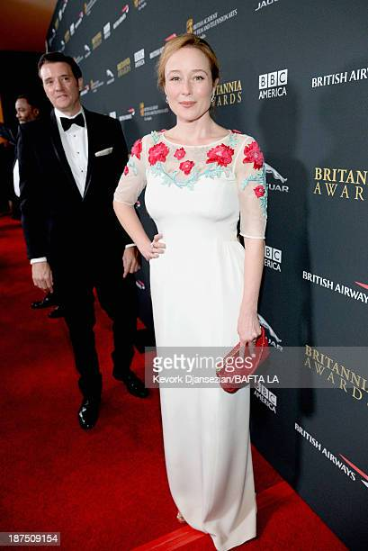 Actress Jennifer Ehle attends the 2013 BAFTA LA Jaguar Britannia Awards presented by BBC America at The Beverly Hilton Hotel on November 9 2013 in...