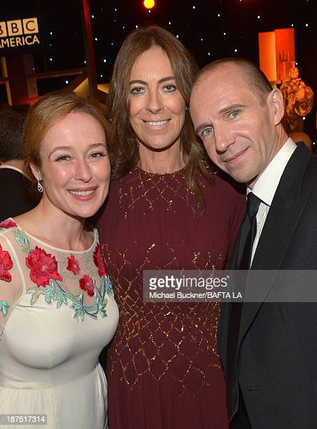 Actress Jennifer Ehle director Kathryn Bigelow and actor Ralph Fiennes attend the 2013 BAFTA LA Jaguar Britannia Awards presented by BBC America at...