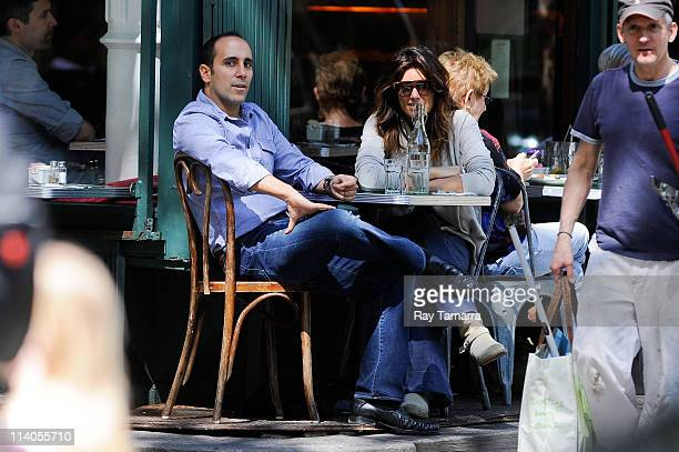 Actress Jennifer Esposito and guest dine at a West Village restaurant on May 10 2011 in New York City