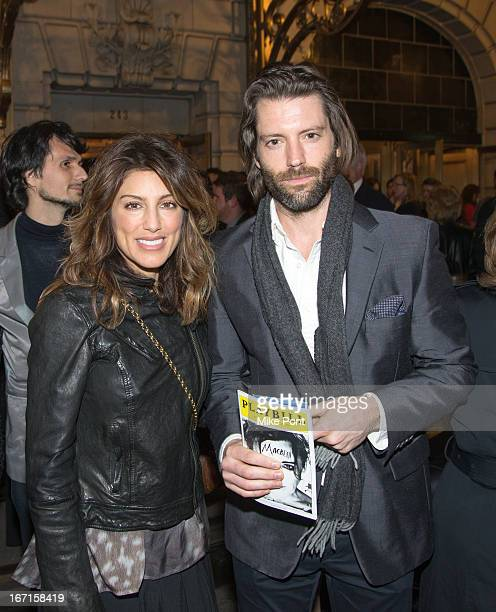 Actress Jennifer Esposito and Louis Dowler attend the Broadway opening night of Macbeth at The Ethel Barrymore Theatre on April 21 2013 in New York...