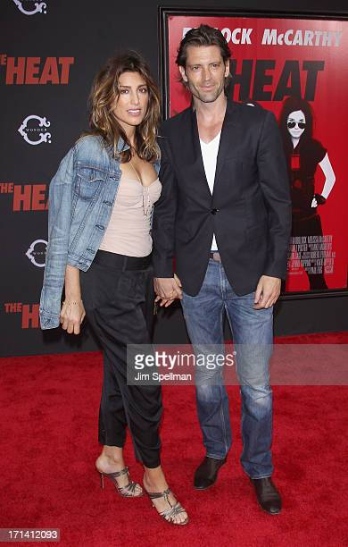 Actress Jennifer Esposito and Louis Dowler attend The Heat New York Premiere at Ziegfeld Theatre on June 23 2013 in New York City