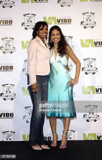 Actress Jennifer Freeman poses with her mother in the press room at the 2004 Vibe Awards at Barker Hangar November 15 2004 in Santa Monica California