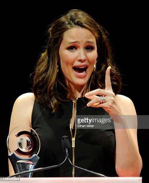 Actress Jennifer Garner accepts the Female Star of the Year Award at the CinemaCon awards ceremony at The Colosseum at Caesars Palace during...