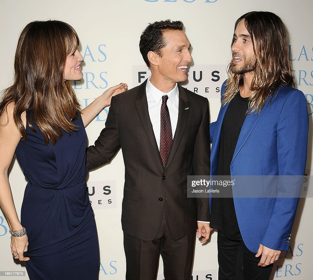 Actress Jennifer Garner, actor Matthew McConaughey and actor Jared Leto attend the premiere of 'Dallas Buyers Club' at the Academy of Motion Picture Arts and Sciences on October 17, 2013 in Beverly Hills, California.