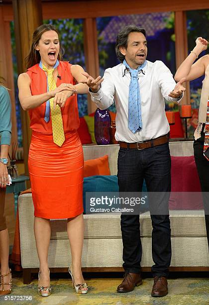 Actress Jennifer Garner and actor Eugenio Derbez on the set Of Univisions Despierta America to promote Miracles From Heaven at Univision Studios on...