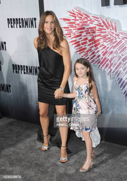 Actress Jennifer Garner and actress Cailey Fleming arrive for the Premiere Of STX Entertainment's Peppermint held at Stadium 14 on August 28 2018 in...