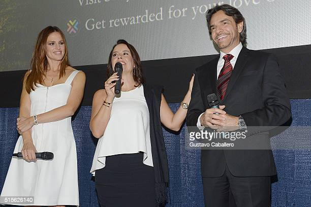 Actress Jennifer Garner Director Patricia Riggen and Actor Eugenio Derbez attend the Miracles From Heaven Miami Red Carpet at Regal South Beach on...
