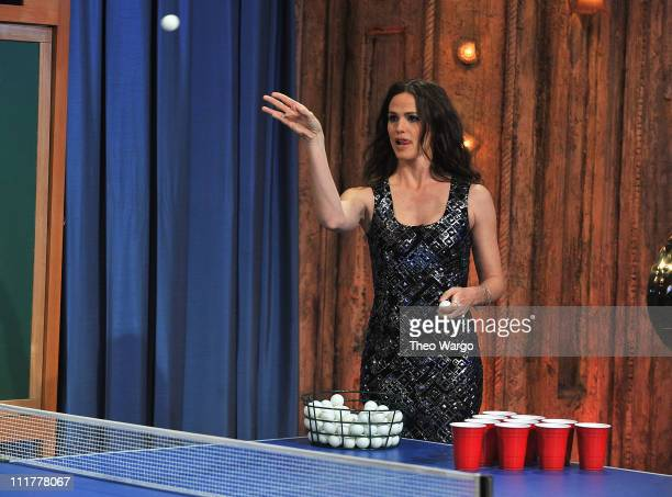Actress Jennifer Garner plays 'Beer Pong' while visiting 'Late Night with Jimmy Fallon' at Rockefeller Center on April 6 2011 in New York City