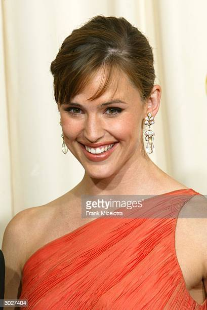 Actress Jennifer Garner poses backstage during the 76th Annual Academy Awards at the Kodak Theater on February 29 2004 in Hollywood California