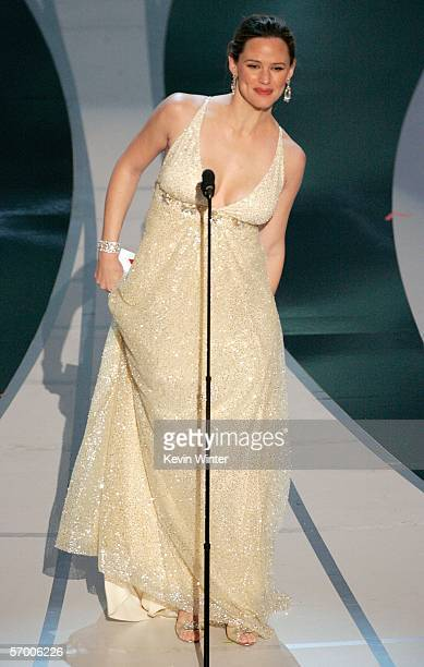 Actress Jennifer Garner presents the Achievement in Sound Editing award on stage during the 78th Annual Academy Awards at the Kodak Theatre on March...