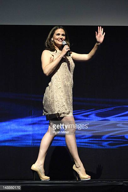 Actress Jennifer Garner speaks onstage at Caesars Palace during CinemaCon the official convention of the National Association of Theatre Owners April...