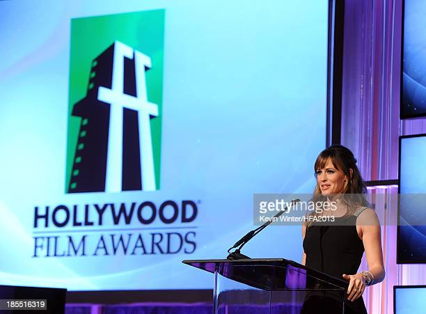 Actress Jennifer Garner speaks onstage during the 17th annual Hollywood Film Awards at The Beverly Hilton Hotel on October 21, 2013 in Beverly Hills,...