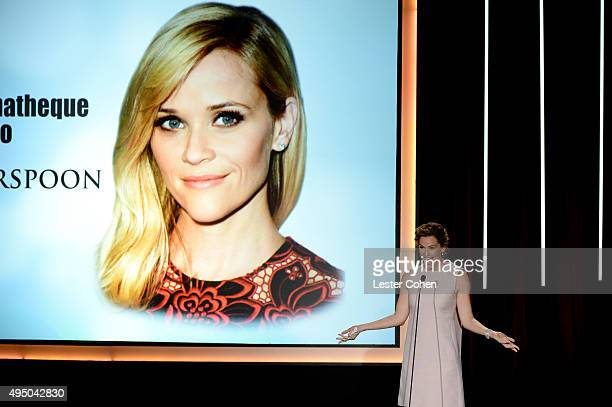 Actress Jennifer Garner speaks onstage during the 29th American Cinematheque Award honoring Reese Witherspoon at the Hyatt Regency Century Plaza on...
