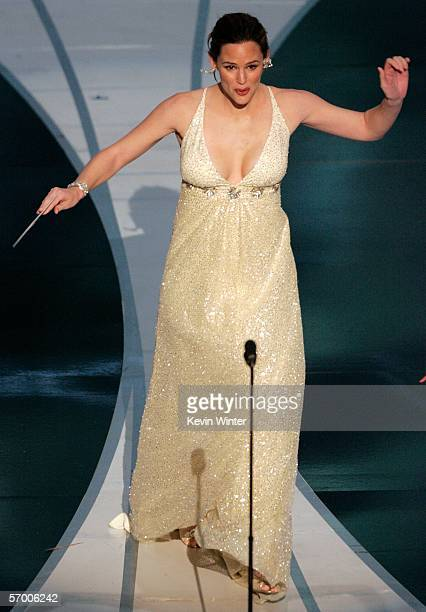Actress Jennifer Garner stumbles as she presents the Achievement in Sound Editing award on stage during the 78th Annual Academy Awards at the Kodak...