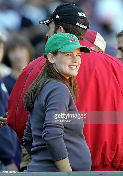 Actress Jennifer Garner with husband actor Ben Affleck attend the game between the Boston Red Sox and the New York Yankees at Fenway Park on October...
