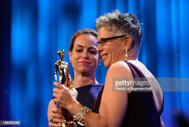 Actress Jennifer Grant and artist Wendy Levy onstage at the 2013 Princess Grace Awards Gala at Cipriani 42nd Street on October 30 2013 in New York...