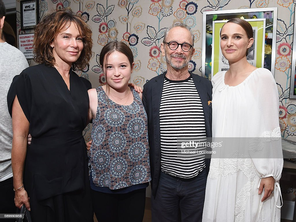 Actress Jennifer Grey, daughter Stella Gregg, her grandfather, actor Joel Grey, and director and actress Natalie Portman attend the after party for the New York premiere of 'A Tale Of Love & Darkness' at Crosby Street Hotel on August 15, 2016 in New York City.