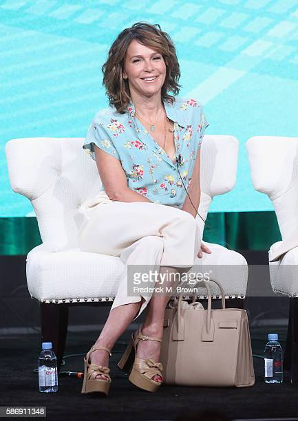 Actress Jennifer Grey speaks onstage at the 'Red Oaks' panel discussion during the Amazon portion of the 2016 Television Critics Association Summer...