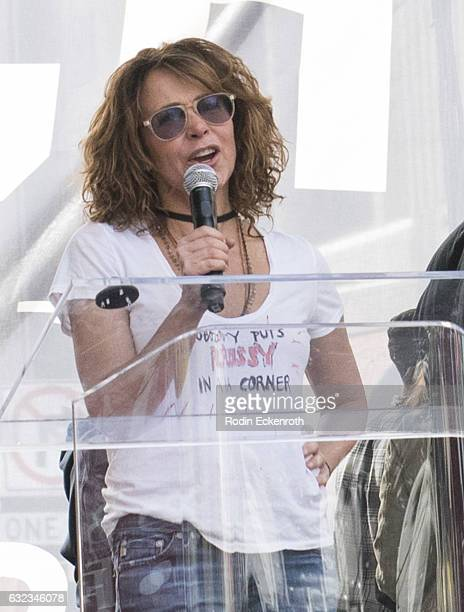 Actress Jennifer Grey speaks onstage at Women's March Los Angeles on January 21 2017 in Los Angeles California