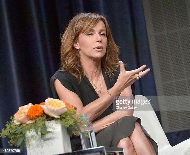 Actress Jennifer Grey speaks onstage during the 'Red Oaks' panel discussion at the Amazon Studios portion of the 2015 Summer TCA Tour on August 3...