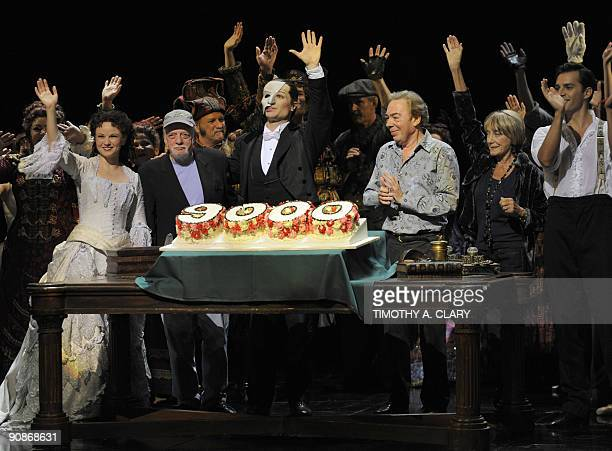 Actress Jennifer Hope Wills director Harold Prince actor John Cudia composer Andrew Lloyd Webber and choreographer Gillian Lynne wave to the audience...