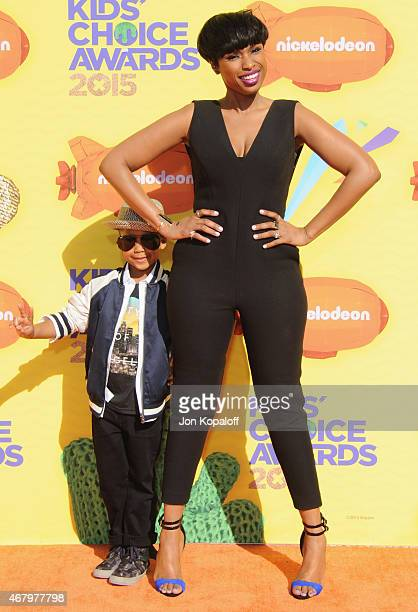 Actress Jennifer Hudson and son David Daniel Otunga Jr arrive at Nickelodeon's 28th Annual Kids' Choice Awards at The Forum on March 28 2015 in...