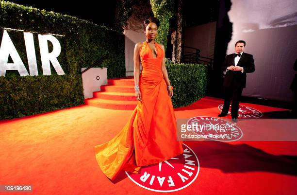 Actress Jennifer Hudson attends the 2011 Vanity Fair Oscar Party Hosted by Graydon Carter at the Sunset Tower Hotel on February 27, 2011 in West...