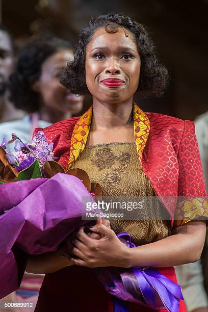 Actress Jennifer Hudson attends the 'The Color Purple' Broadway Opening Night Curtain Call at The Bernard B Jacobs Theatre on December 10 2015 in New...