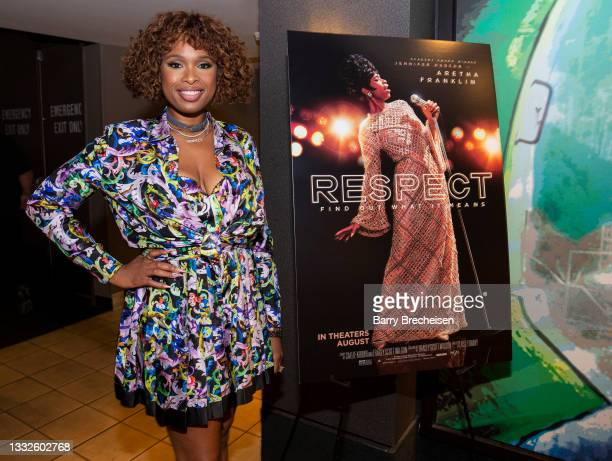 """Actress Jennifer Hudson makes a surprise appearance and introduces the movie """"Respect"""" at the screening at AMC River East Theater on August 5, 2021..."""