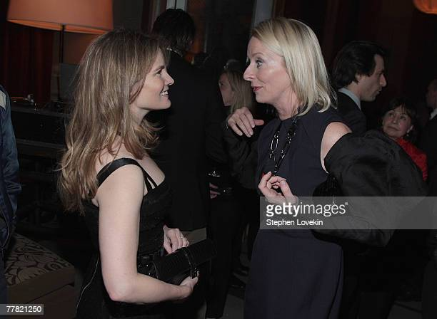 Actress Jennifer Jason Leigh and Allure editorinchief Linda Wells attend the dinner for Margot At The Wedding hosted by The Cinema Society and Linda...