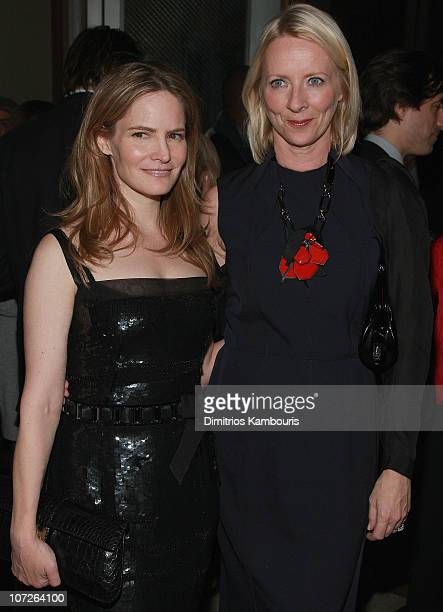 Actress Jennifer Jason Leigh and Linda Wells attend the after party for Margot at the Wedding hosted by The Cinema Society Linda Wells at the SoHo...