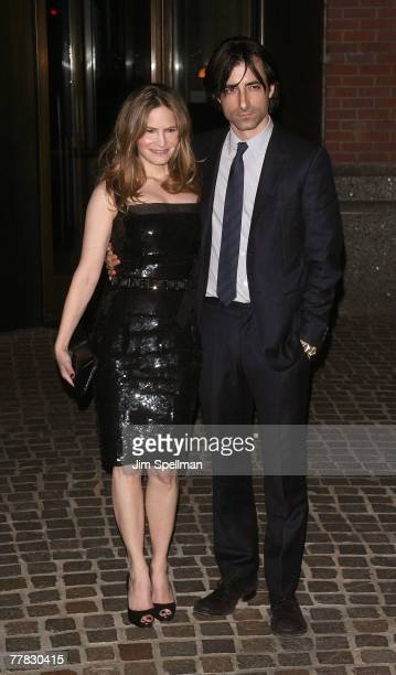 Actress Jennifer Jason Leigh and Writer/Director Noah Baumbach arrive at the Margot at the Wedding Screening at the Tribeca Grand Screening Room on...