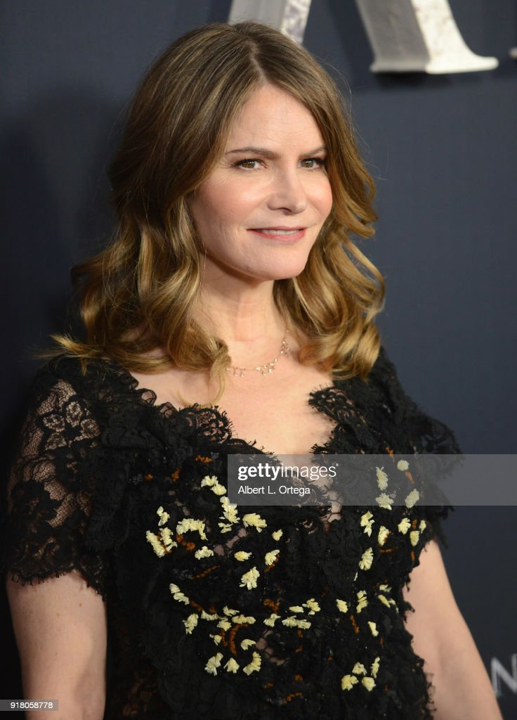 Actress Jennifer Jason Leigh arrives for the premiere of Paramount Pictures' 'Annihilation' held at Regency Village Theatre on February 13, 2018 in Westwood, California.