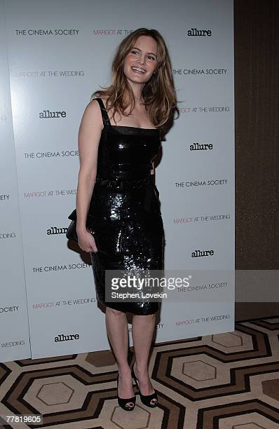 Actress Jennifer Jason Leigh attends a screening of Margot At The Wedding hosted by The Cinema Society and Linda Wells at The Tribeca Grand Hotel on...