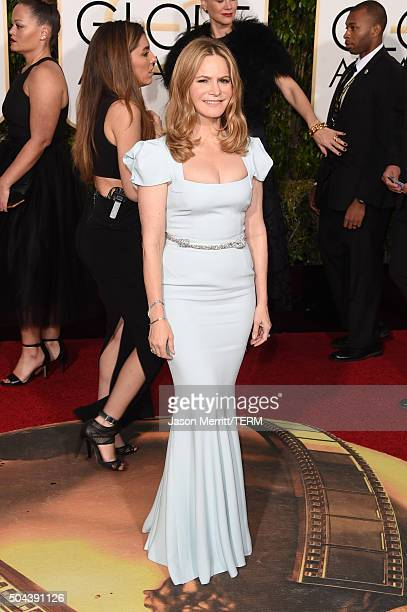 Actress Jennifer Jason Leigh attends the 73rd Annual Golden Globe Awards held at the Beverly Hilton Hotel on January 10 2016 in Beverly Hills...